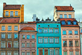 HDR image of old Warsaw houses — Stock Photo