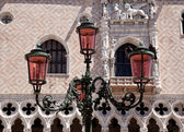Ornate lamp by Doge Palace — Stock Photo