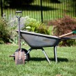 Wheelbarrow and spades — Stock Photo