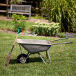 Wheelbarrow and spade — Stockfoto