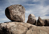 Three balanced boulders — Stock Photo