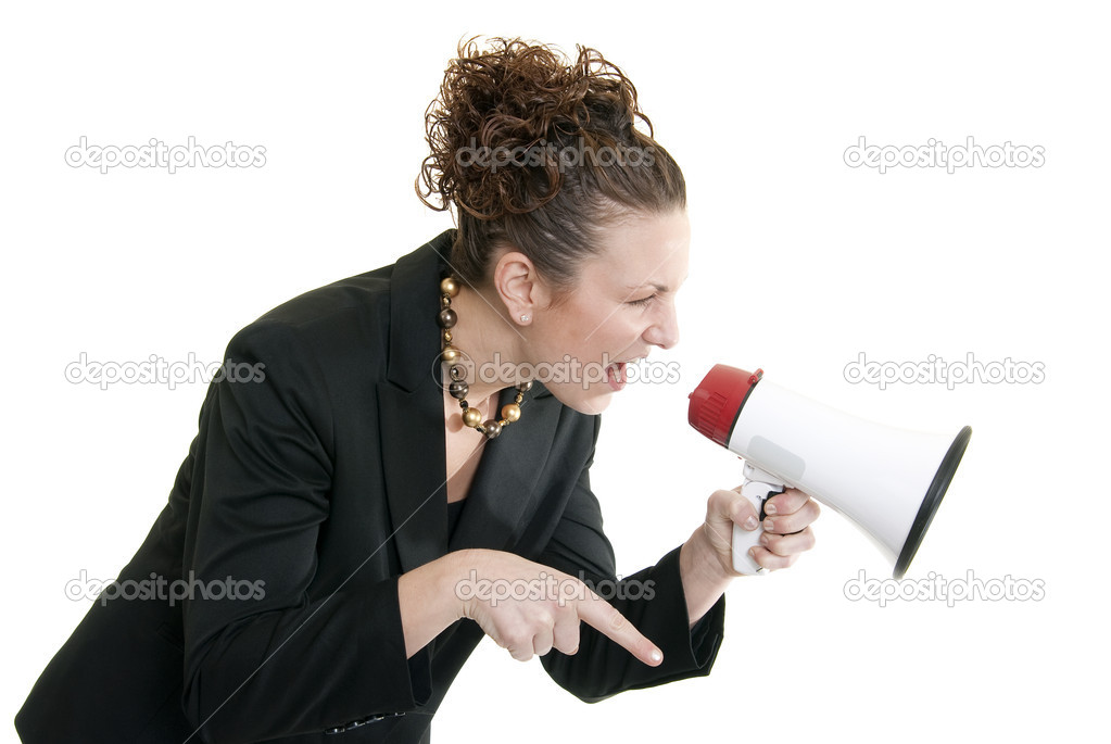 Attractive Caucasian business woman yelling into a bullhorn — Foto Stock #2823705