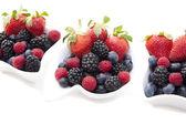 Fresh berries in bowls — Stock Photo