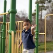 Multi-racial boy at the playground - Stok fotoraf