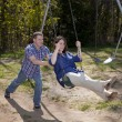 Husband and wife at the park — Stock Photo