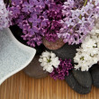 Lilacs and bath salt — Stock Photo