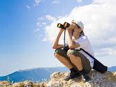 Child with binoculars — Stock Photo