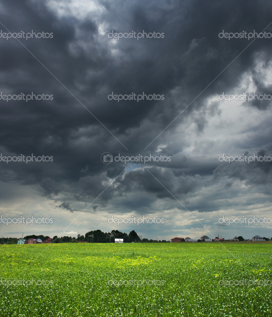Storm clouds and grass green field — Stock Photo #2731385