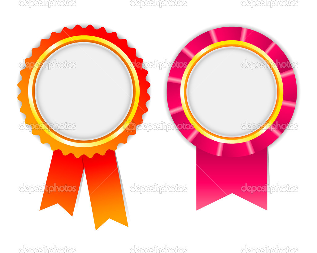 Vector award ribbon. Red and magenta — Stock Vector #2943334