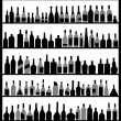 Stock Vector: Silhouette alcohol bottles