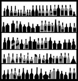Botellas de alcohol de silueta — Vector de stock