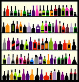 Botellas de alcohol en la pared — Vector de stock