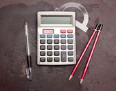 Calculator, pencil, pen — Stok fotoğraf