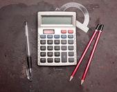 Calculator, pencil, pen — Stock Photo