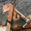 Bricklayer equipment trowel and hack - Stock Photo