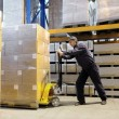 Worker at warehouse with loader — Stock fotografie