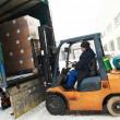Warehouse forklift loader work — Stock Photo