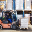 Warehouse work with forklift loader — 图库照片