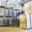 Warehouse with shelves rack arrangement — Stock Photo