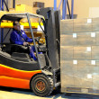 Worker and forklift loader at warehouse — Stock Photo #3245046