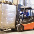 Forklift at work with driver — Foto de Stock
