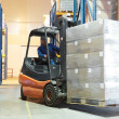 Warehouse forklift loader — Stock Photo