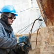 Welder working with gas torch — Stock Photo