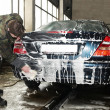 Manual car washing — Stock Photo