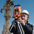 Surveyor with transit level equipment — Stock Photo #3245844