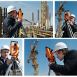 Surveyor with transit level equipment — Stok fotoğraf