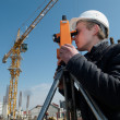 Surveyor with transit level equipment — Stock Photo #3245910