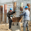 Workers at piling works — Stock Photo