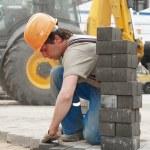 Sidewalk pavement construction works — Stock Photo
