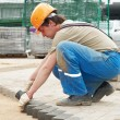 Sidewalk pavement construction works - Stockfoto