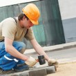 Sidewalk pavement construction works - Stock Photo