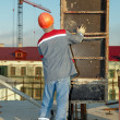 Builder installing formwork — Stock Photo #3246742