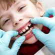 At dentist medic orthodontic doctor examination — Stock Photo