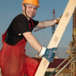 Builder at construction site — Stockfoto
