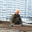 Builder making reinforcement — Stock Photo