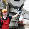 bouw bouwer en beton machine — Stockfoto