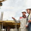 Engineers builders at construction site — Stock fotografie
