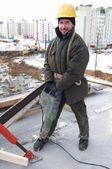 Worker builder and concrete formwork — Стоковое фото