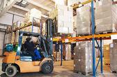 Warehouse forklift loader worker — Stock Photo