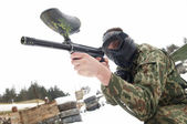 Paintball extreme sport game player — Stock Photo