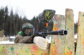 Aiming Paintball extreme sport game player — Stock Photo