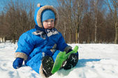 Quiet child winter outdoors — Stock Photo