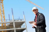 Builder at construction site — Stock Photo