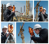 Surveyor with transit level equipment — Foto Stock
