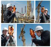 Topógrafo con equipos de nivel de tránsito — Foto de Stock