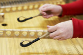 Hammered dulcimer musical instrument — Stock Photo